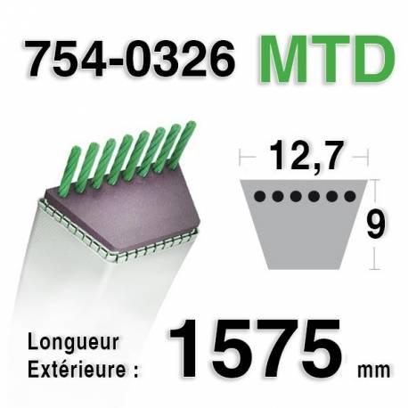 Courroie pour tondeuse autoportee mtd 754 0326 pi ces for Batterie pour autoportee mtd