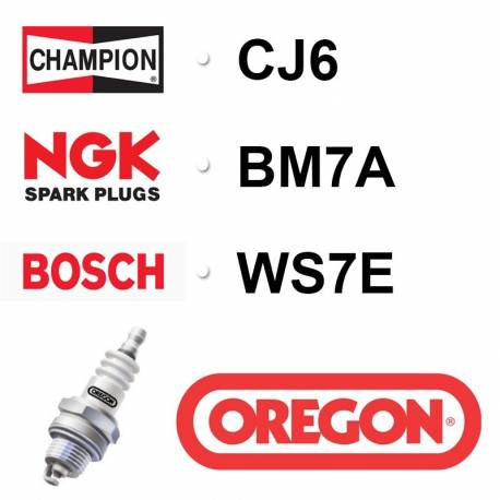 Bougie OREGON - CHAMPION cj6 NGK bm7a BOSCH ws7e
