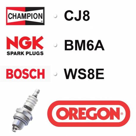 Bougie OREGON - CHAMPION cj8 NGK bm6a BOSCH ws8e