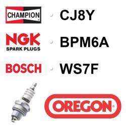 Bougie OREGON - CHAMPION cj8y NGK bpm6a BOSCH ws7f