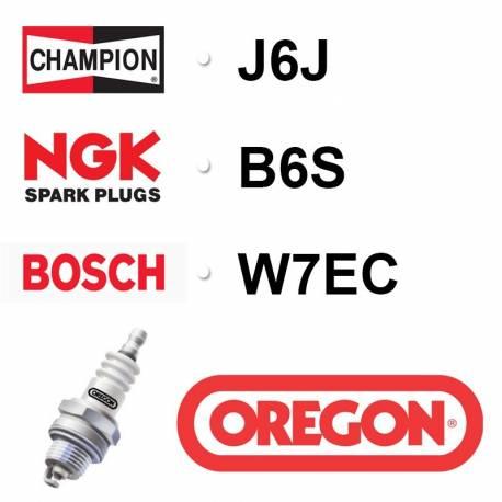 Bougie OREGON - CHAMPION j6j NGK b6s BOSCH w7ec