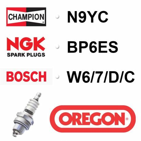 Bougie OREGON - CHAMPION n9yc NGK bp6es BOSCH w6-7-d-c